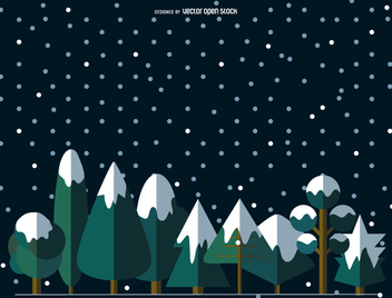 9 Flat snowed trees - vector gratuit #357855