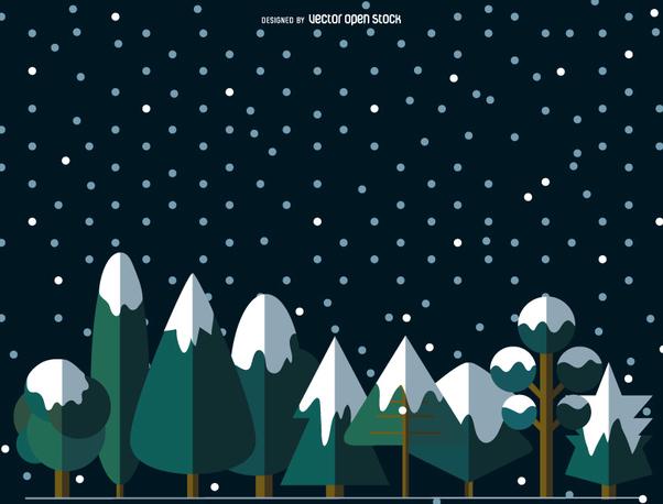 9 Flat snowed trees - Free vector #357855