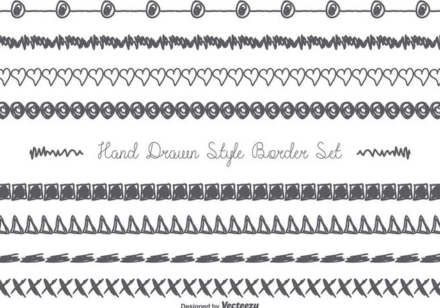 Cute Messy Hand Drawn Border Set - Free vector #357985