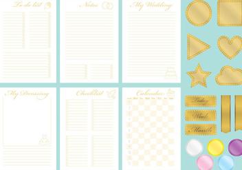 Golden Wedding Organizer Vectors - Free vector #358165
