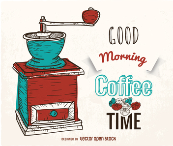 Hand-drawn coffee poster with grinder - Free vector #358295