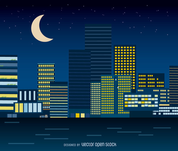 Night cityscape in flat style - бесплатный vector #358315