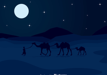 Arabian Night Dessert Landscape Background - Free vector #358335