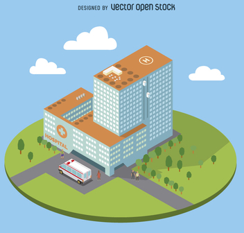 Flat isometric hospital - Free vector #359125