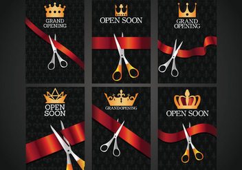 Ribbon Cutting Vector - vector gratuit #359385