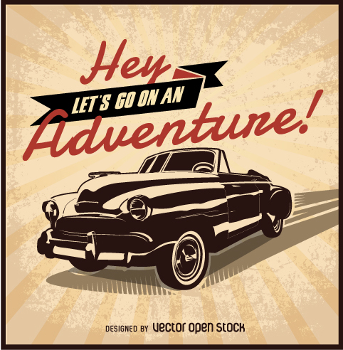 Let's-go-on-an-adventure retro car design - vector gratuit #359425