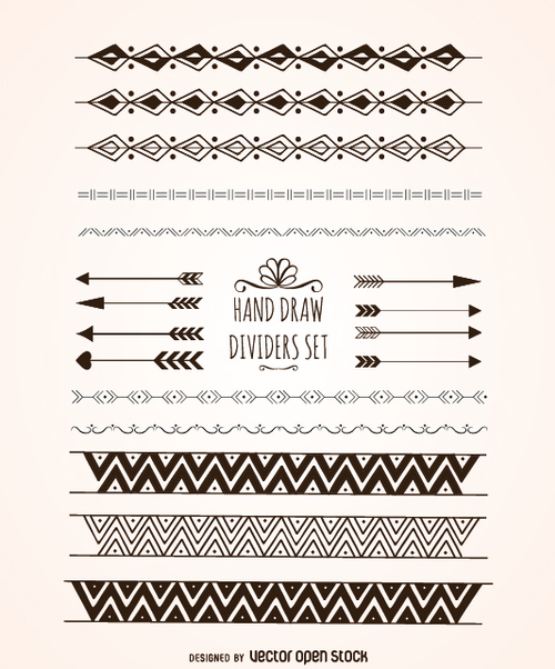 Elegant hand drawn dividers - Free vector #360535