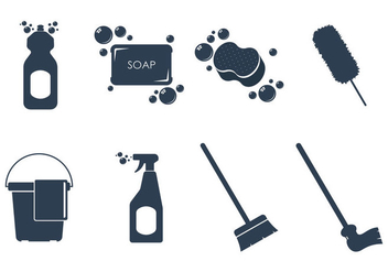 Cleaning Tools Icon Vectors - Free vector #360995