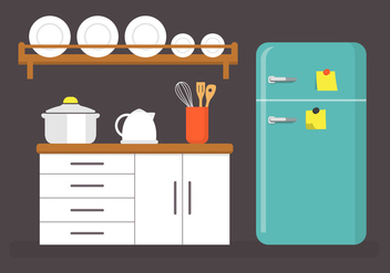 Flat Kitchen Vector Illustration - Kostenloses vector #361165