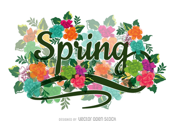 Floral calligraphic spring sign - Free vector #361445