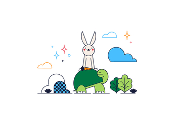 Free Turtle And Rabbit Vector - Free vector #361585