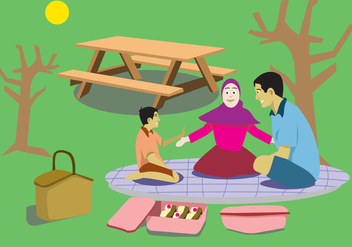 Fun Family Picnic Vector - Free vector #361885