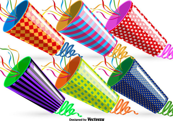 Vector Party Poppers Set - Free vector #362105