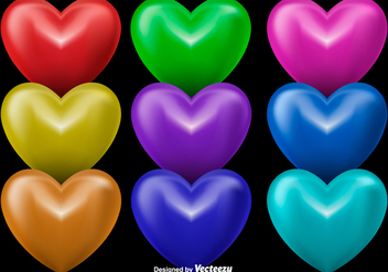 3D Shiny Hearts, Set Of 9 Colorful Hearts - Kostenloses vector #362165