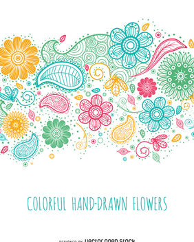 Colorful hand drawn flowers - vector gratuit #362285