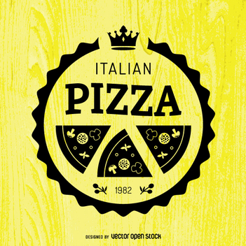 Round pizza emblem - Free vector #362295