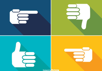 Trendy Long Shadow Style Hand Icons - vector gratuit #362705