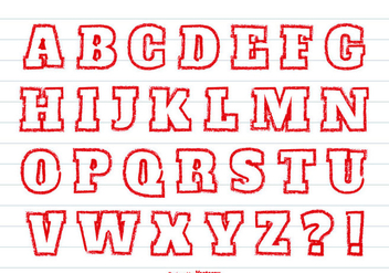 Red Crayon Style Alphabet Set - vector #362875 gratis