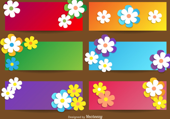 Vector Banners With Flowers For Spring Season - vector gratuit #363165