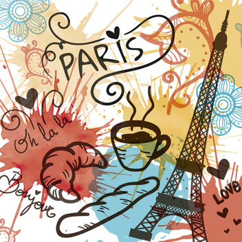 Watercolor Paris landmarks - vector gratuit #363245