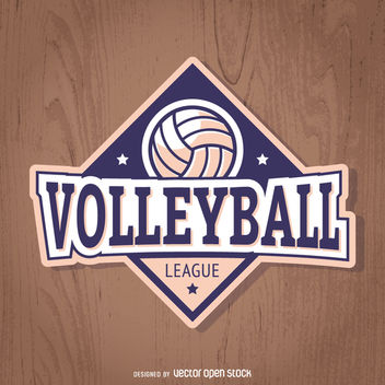 Volleyball badge in purple and light pink - Free vector #363435