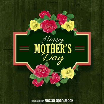 Happy Mother's Day sign with flowers - Free vector #363515