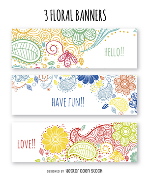 Colorful floral banner set - vector gratuit #363615