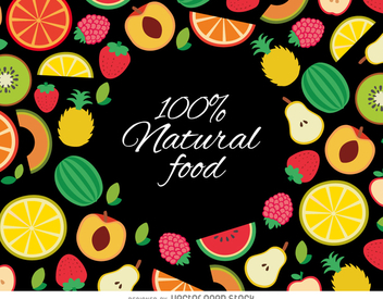 Drawn organic fruit background - vector gratuit #363765