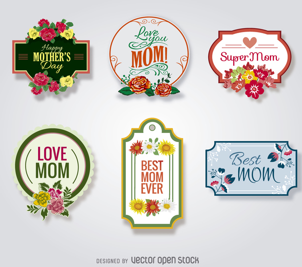 Mother's Day badges set - Free vector #364215