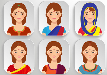 Beautiful Indian Woman Vectors - Free vector #364355