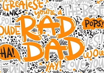 Father's Day Hand Lettering Vector - vector gratuit #364635
