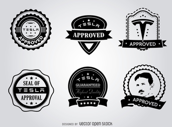 Hipster Tesla seals of approval label set - Kostenloses vector #365215