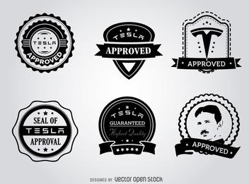 Hipster Tesla seals of approval label set - Kostenloses vector #365215