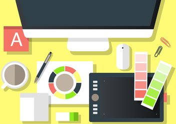 Free Modern Office Vector Desktop Workspace - бесплатный vector #365245