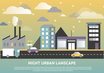 Free Flat Urban Landscape Vector Background - Kostenloses vector #365255