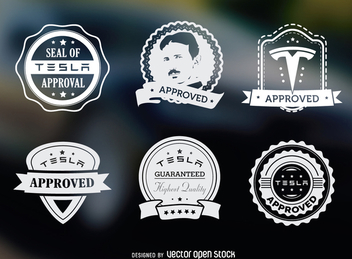 Tesla approved hipster label set - Free vector #365455