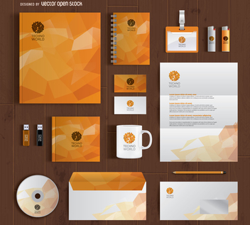 Branding stationery full kit mockup - Free vector #365965