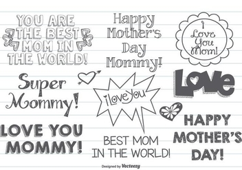 Cute Hand Drawn Mother's Day label set - Free vector #366215