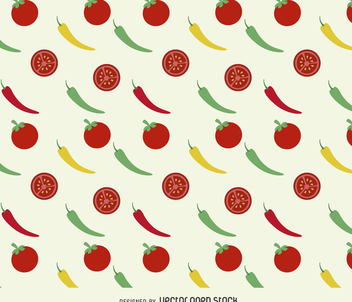 Tomatoes and peppers background - vector gratuit #366245