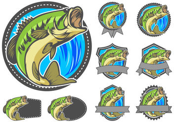 Largemouth Bass Badge Vector - Free vector #366275