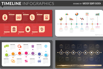 Timeline infographic template set - Free vector #366345