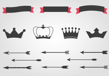 Free Crowns And Arrows Vector - Free vector #366555