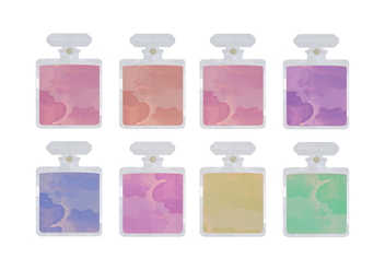 Vector Watercolor Perfume Bottles - Free vector #367105