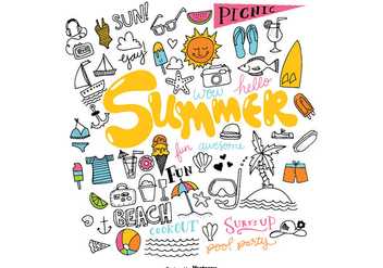 Hand Drawn Summer Element Vectors - Free vector #367395
