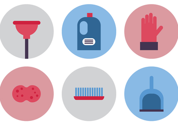 Flat Spring Cleaning Icons - Free vector #367435