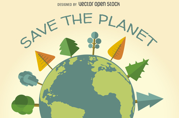 Save the planet ecology sign - Free vector #367585