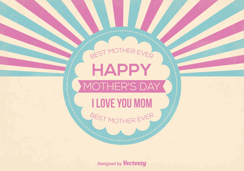 Cute Retro Style Mother's Day Vector Illustration - Free vector #367845