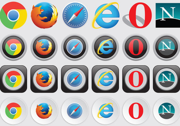 Web Browser Logos - vector #368925 gratis
