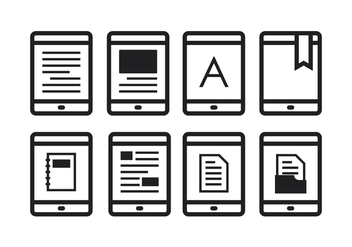 Free E-Reader Icons - vector gratuit #369095