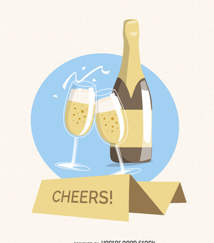 Champagne cheers greeting card - Free vector #369205